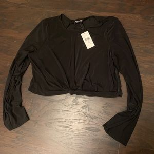 Knotted long sleeve crop top by Fashion Nova!